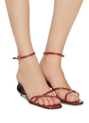 Figure View - Click To Enlarge - NEOUS - 'Phippium' cutout sculptural heel leather sandals