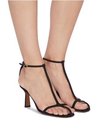 Figure View - Click To Enlarge - NEOUS - 'Jumel' ankle strap grosgrain T-bar sandals