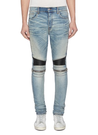 Main View - Click To Enlarge - AMIRI - 'MX2' pleated leather patch jeans