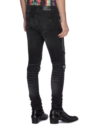 Back View - Click To Enlarge - AMIRI - 'MX2' pleated leather patch jeans