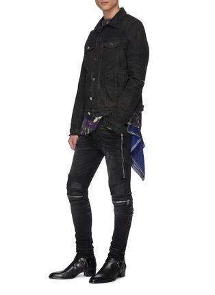 Figure View - Click To Enlarge - AMIRI - 'MX2' pleated leather patch jeans