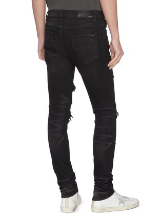 Back View - Click To Enlarge - AMIRI - Distressed cashmere patch jeans
