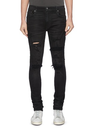 Main View - Click To Enlarge - AMIRI - Distressed cashmere patch jeans