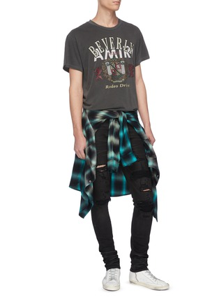 Figure View - Click To Enlarge - AMIRI - Distressed cashmere patch jeans
