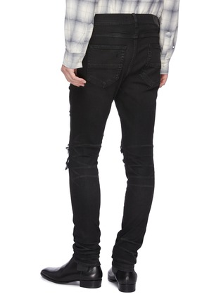 Back View - Click To Enlarge - AMIRI - 'MX1' pleated leather patch skinny jeans