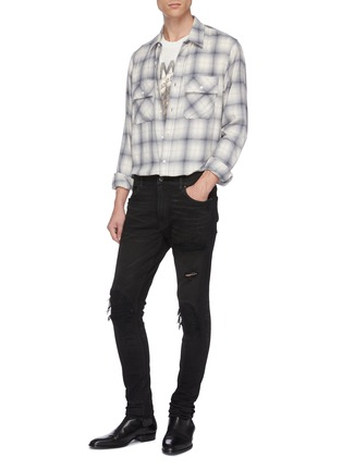 Figure View - Click To Enlarge - AMIRI - 'MX1' pleated leather patch skinny jeans