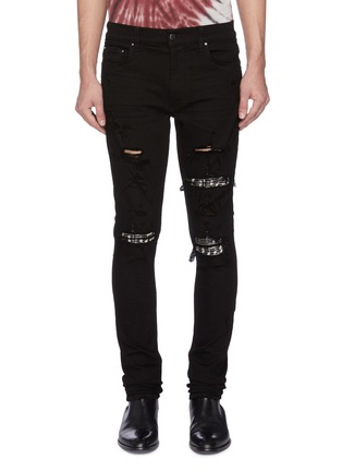 Main View - Click To Enlarge - AMIRI - Music note embroidered panel ripped jeans