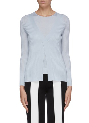 Main View - Click To Enlarge - CRUSH COLLECTION - Layered silk-cashmere rib knit top
