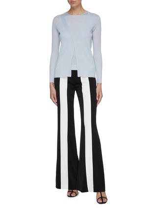 Figure View - Click To Enlarge - CRUSH COLLECTION - Layered silk-cashmere rib knit top