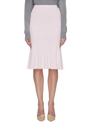 Main View - Click To Enlarge - CRUSH COLLECTION - Rib knit midi flared skirt
