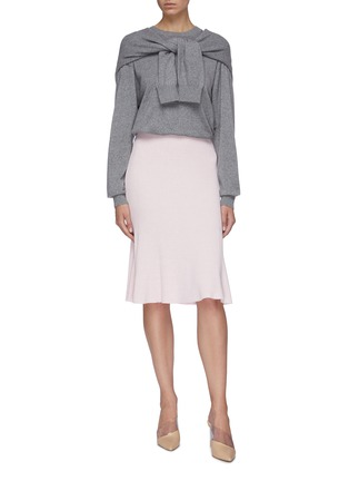 Figure View - Click To Enlarge - CRUSH COLLECTION - Rib knit midi flared skirt