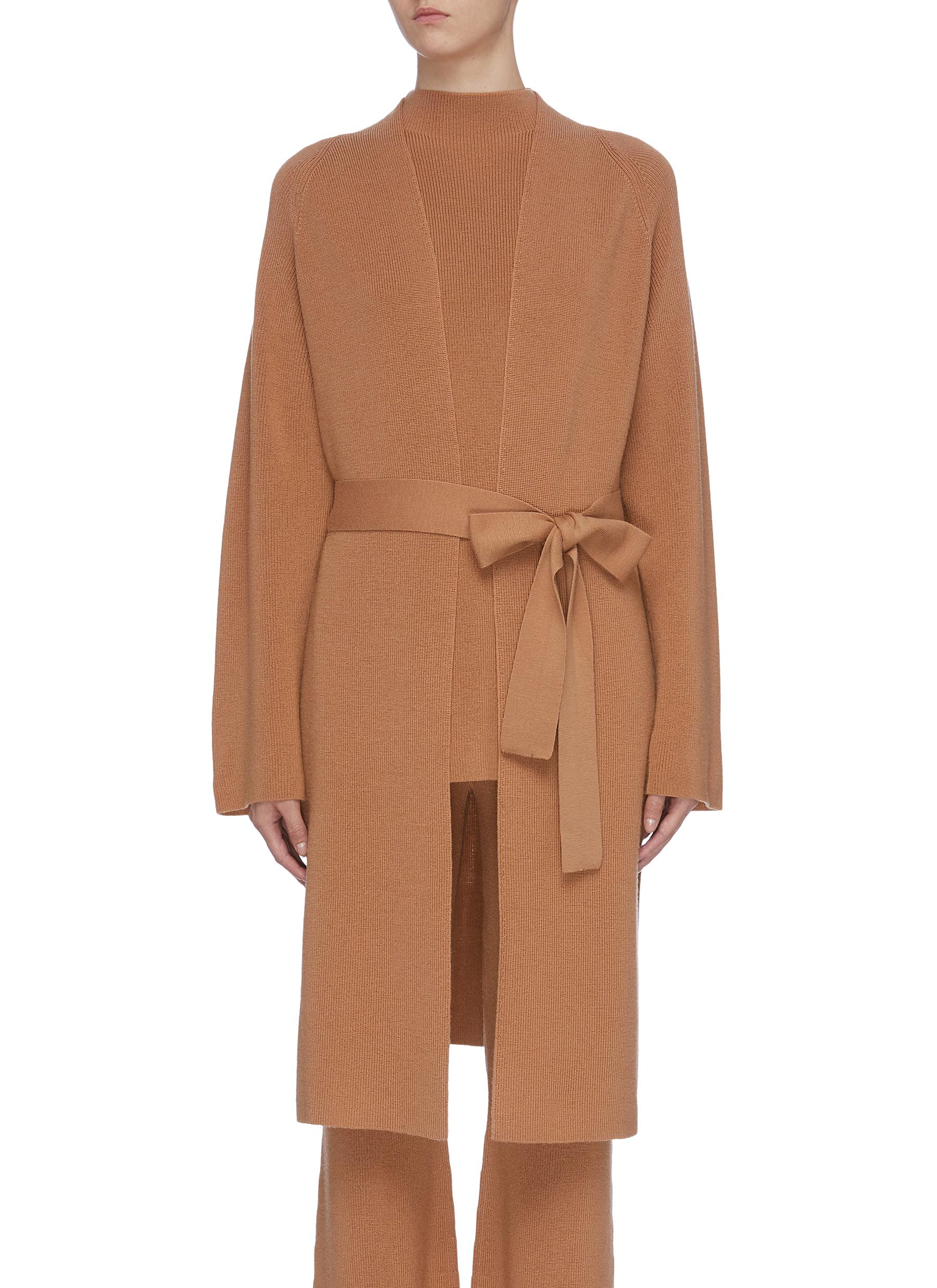 Sash belted wool open cardigan by Crush Collection