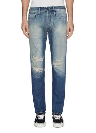 Main View - Click To Enlarge - DENHAM - 'Razor' rip-and-repair slim fit jeans