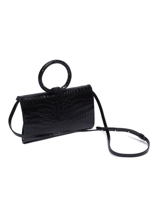 Detail View - Click To Enlarge - COMPLÉT - 'Valery' ring handle mini croc embossed leather clutch