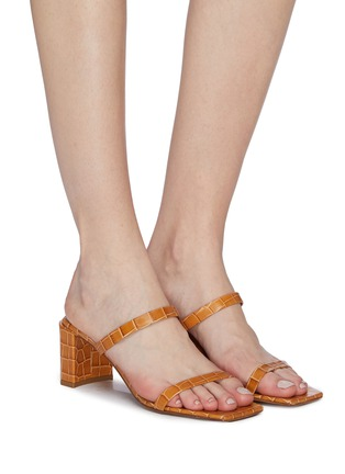 Figure View - Click To Enlarge - BY FAR - 'Tanya' croc embossed leather sandals