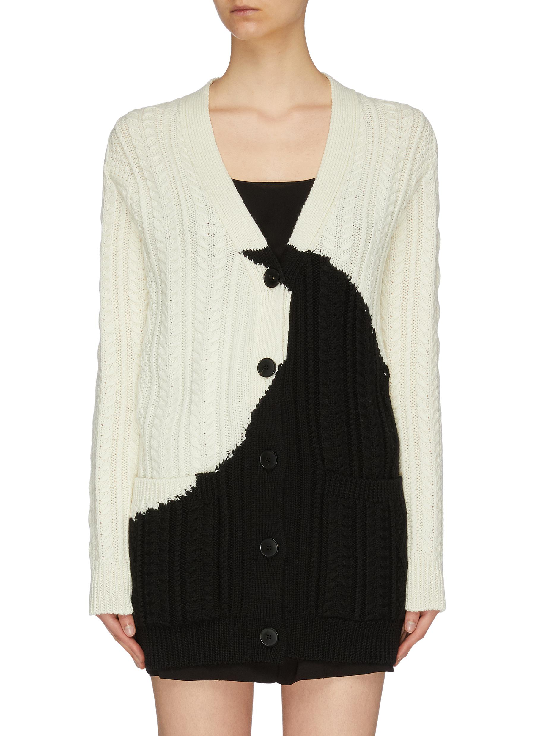 Luna colourblock intarsia virgin wool cable knit cardigan by Valentino