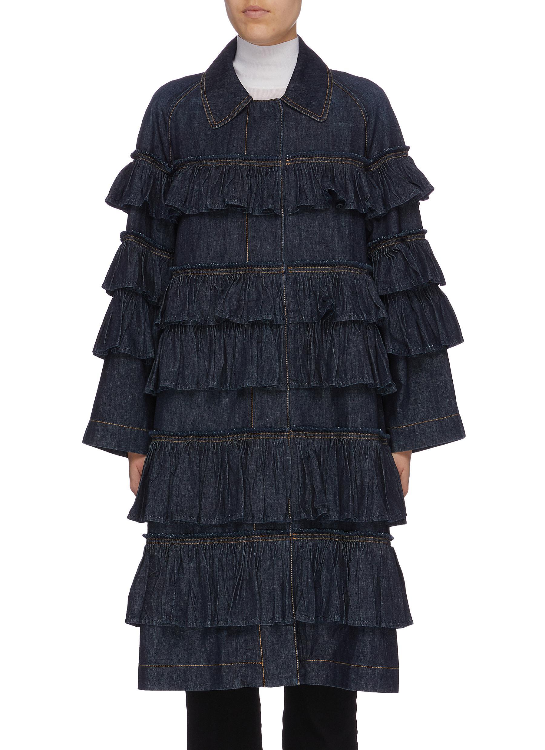 Tiered ruffle denim coat by Valentino