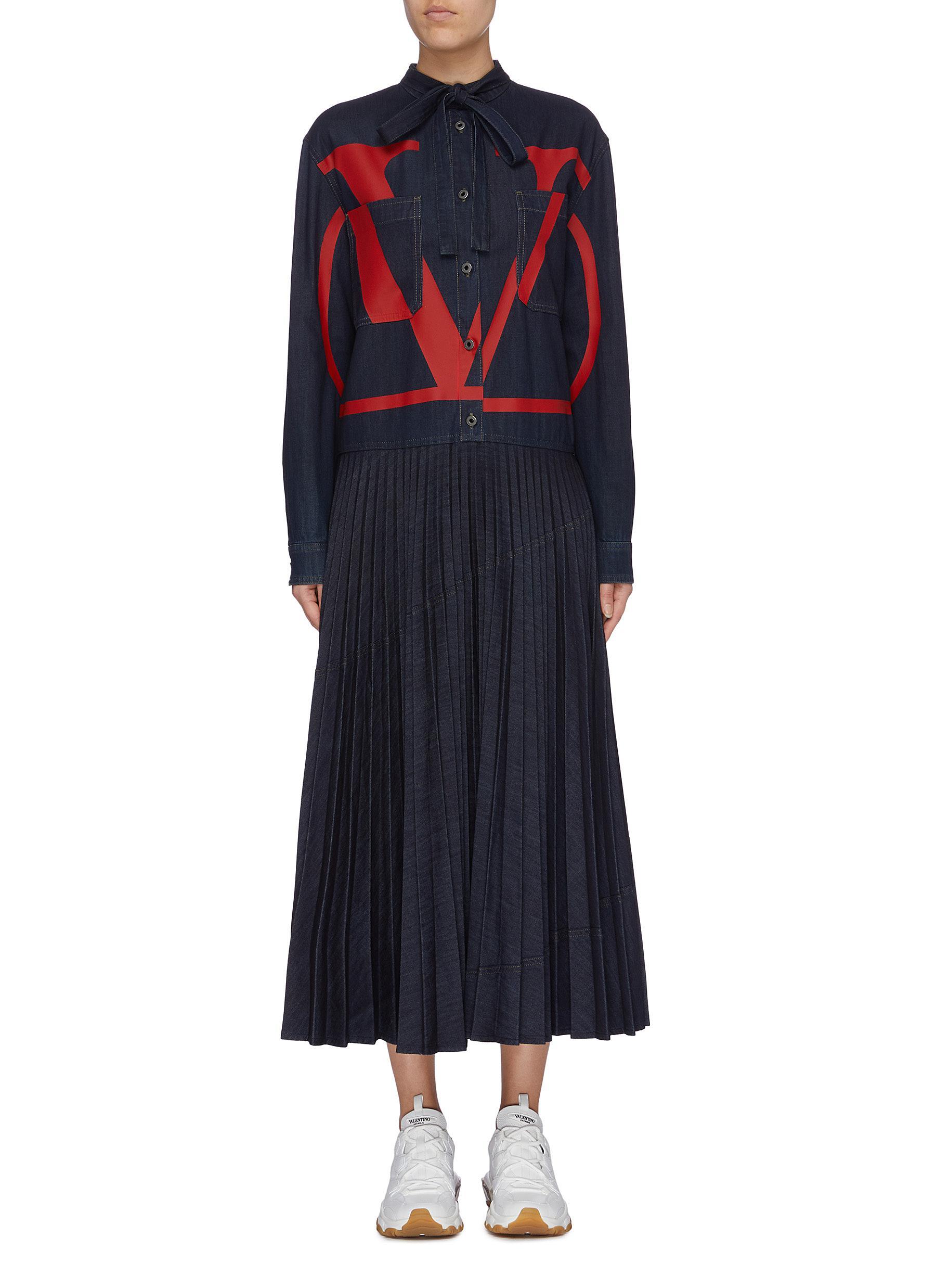VLOGO print shirt panel pleated denim dress by Valentino