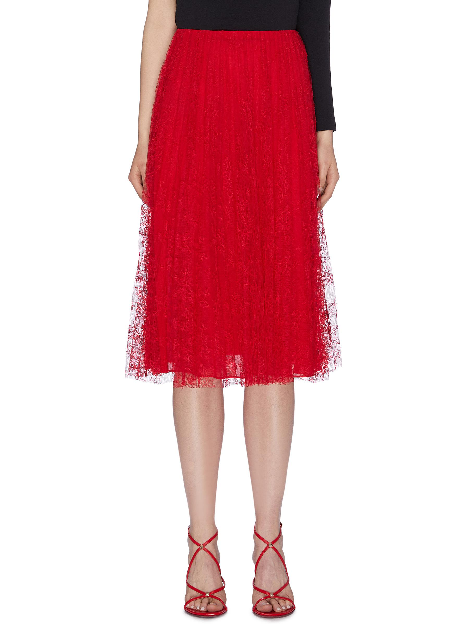Pleated Chantilly lace skirt by Valentino
