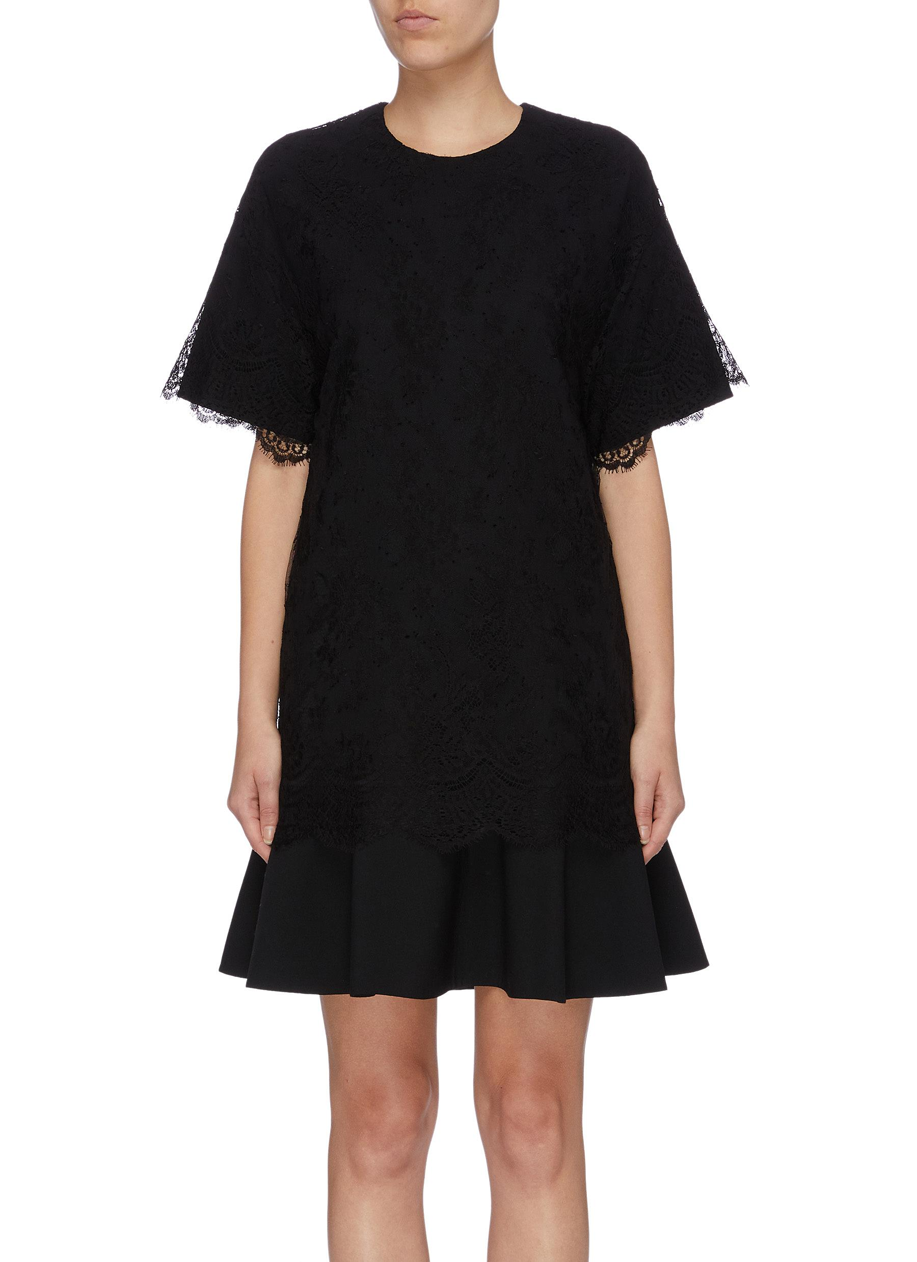 Lace overlay flared mini virgin wool blend dress by Valentino
