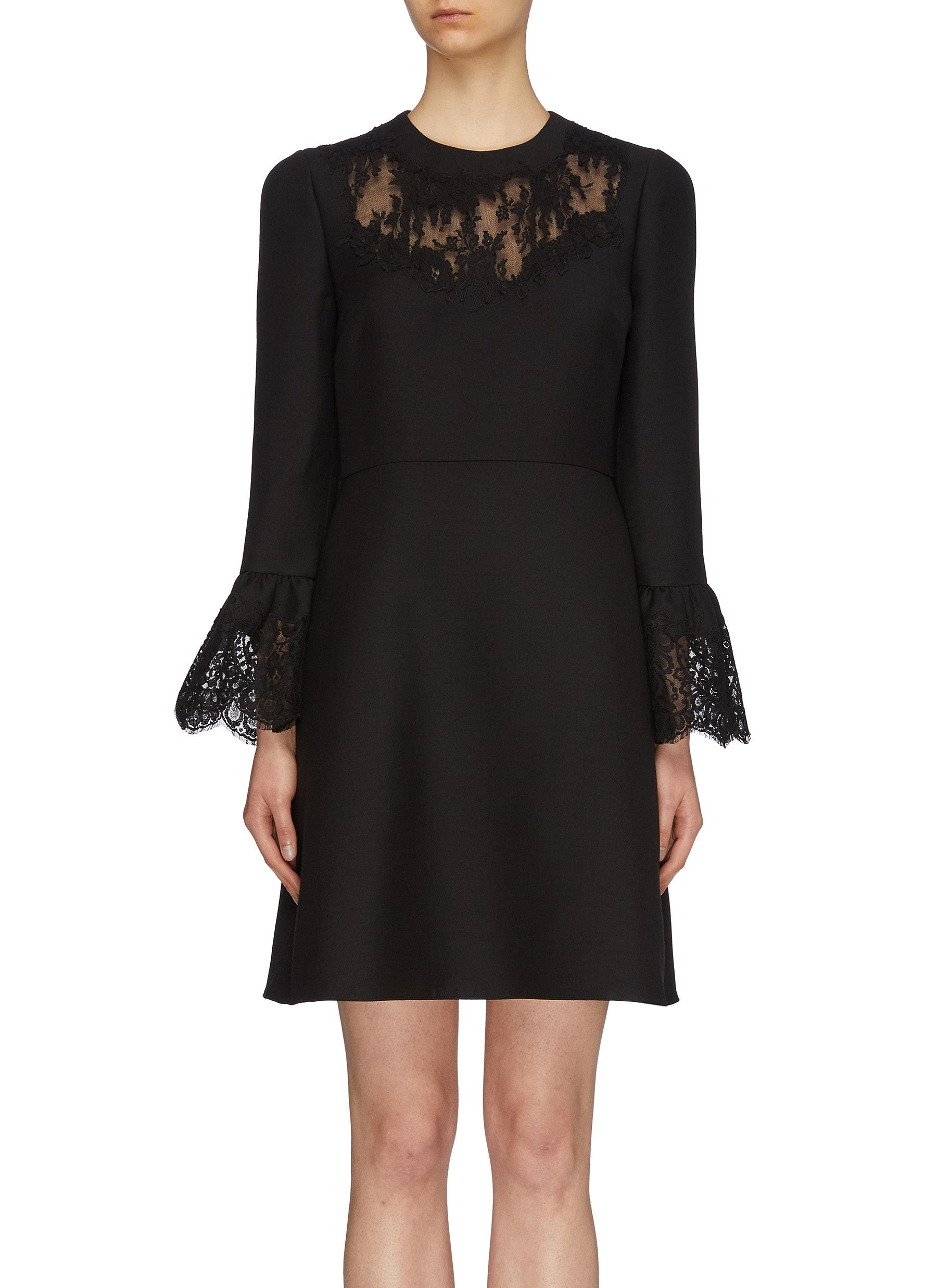 Chantilly lace panel virgin wool-silk crepe dress by Valentino