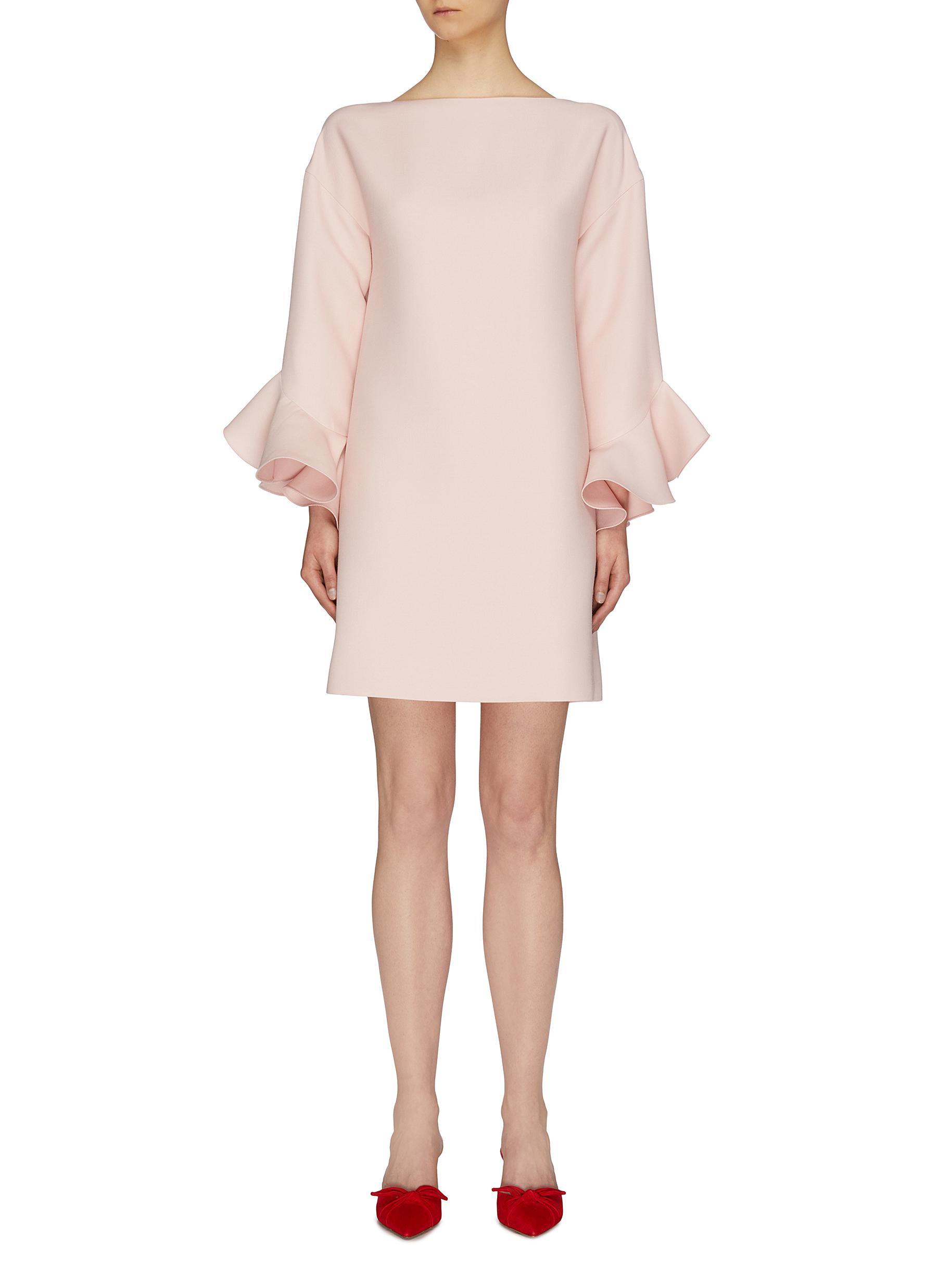 Ruffle cuff virgin wool-silk crepe dress by Valentino