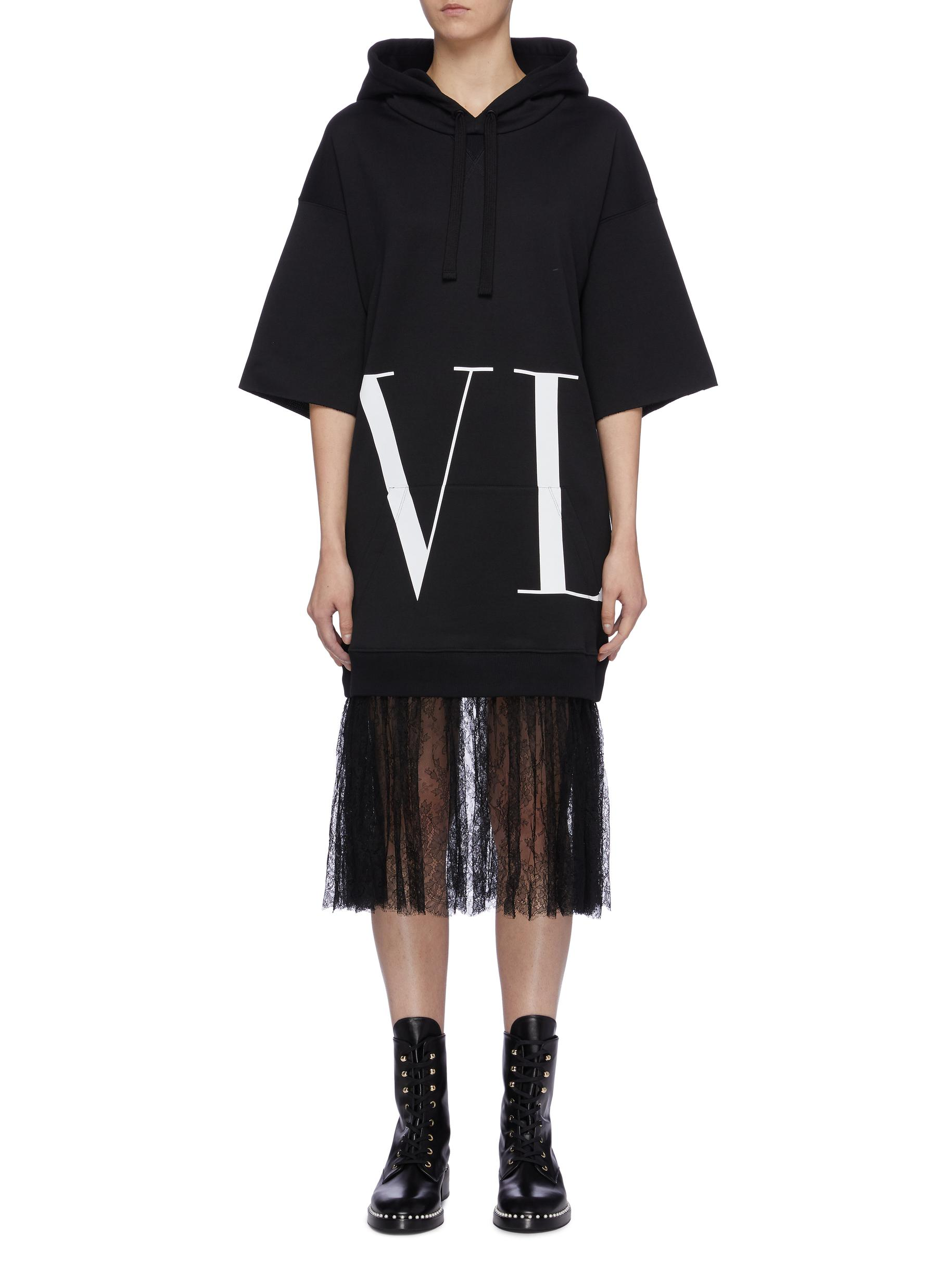 VLTN print lace edge hoodie dress by Valentino