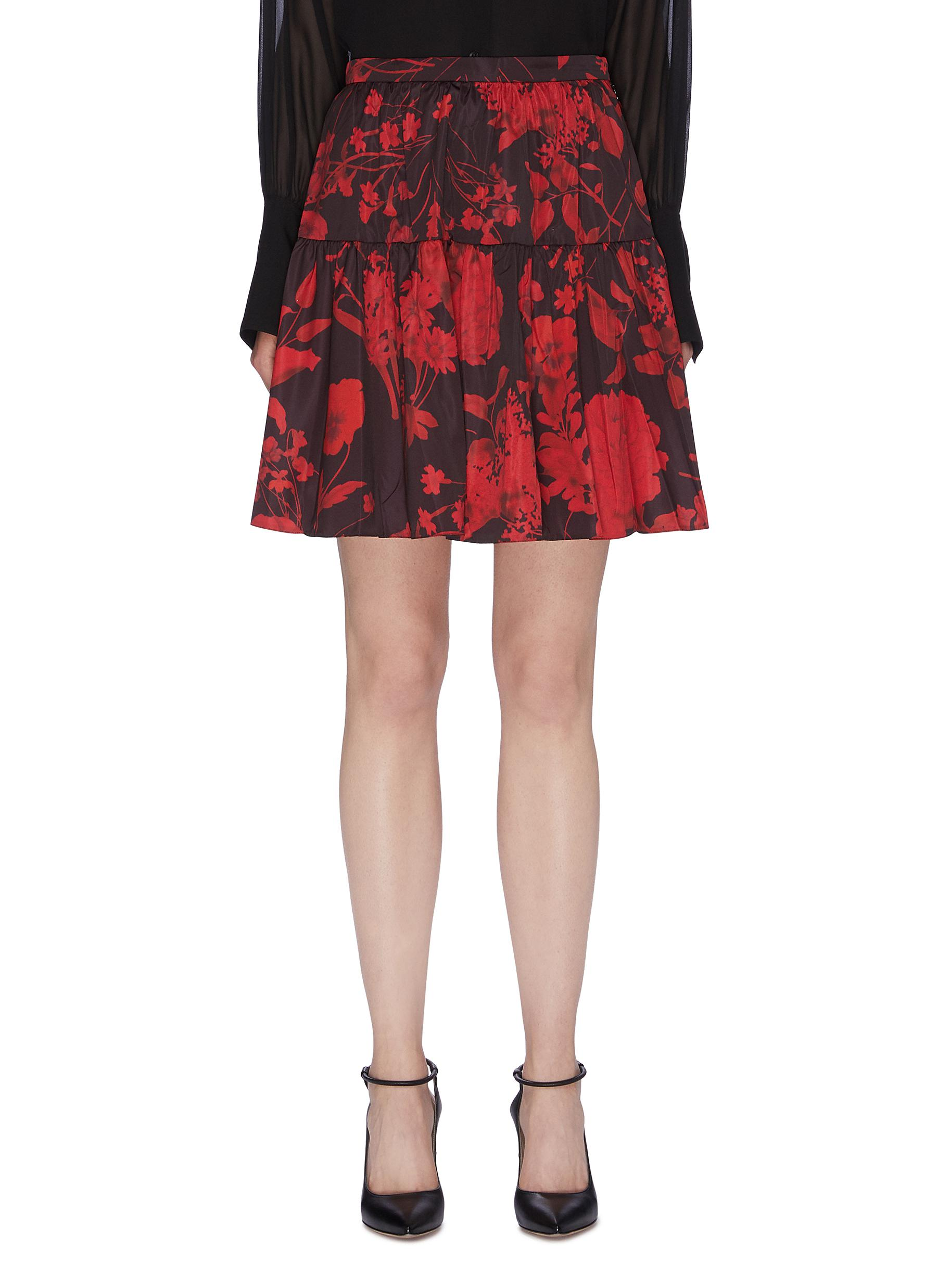 Tiered ruched floral print twill skirt by Valentino