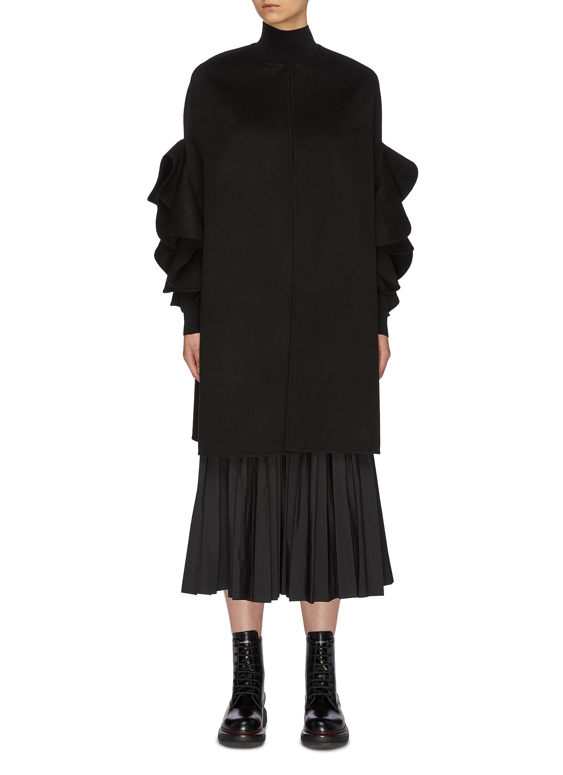 Ruffle sleeve virgin wool-cashmere melton cape coat by Valentino