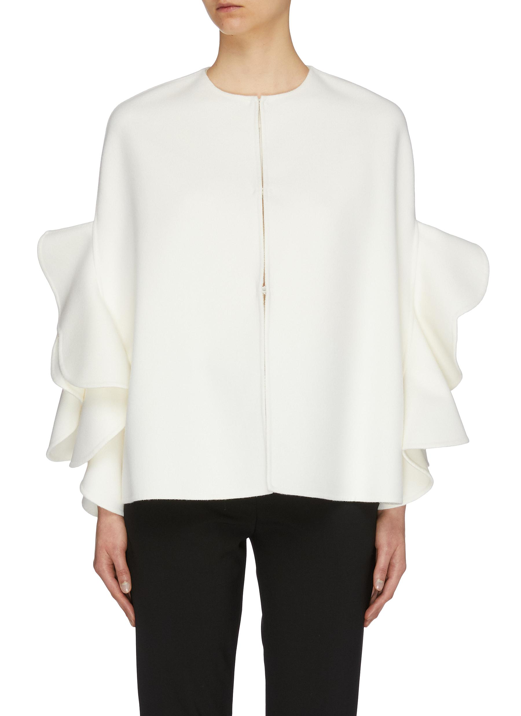 Ruffle sleeve virgin wool-cashmere melton short cape jacket by Valentino