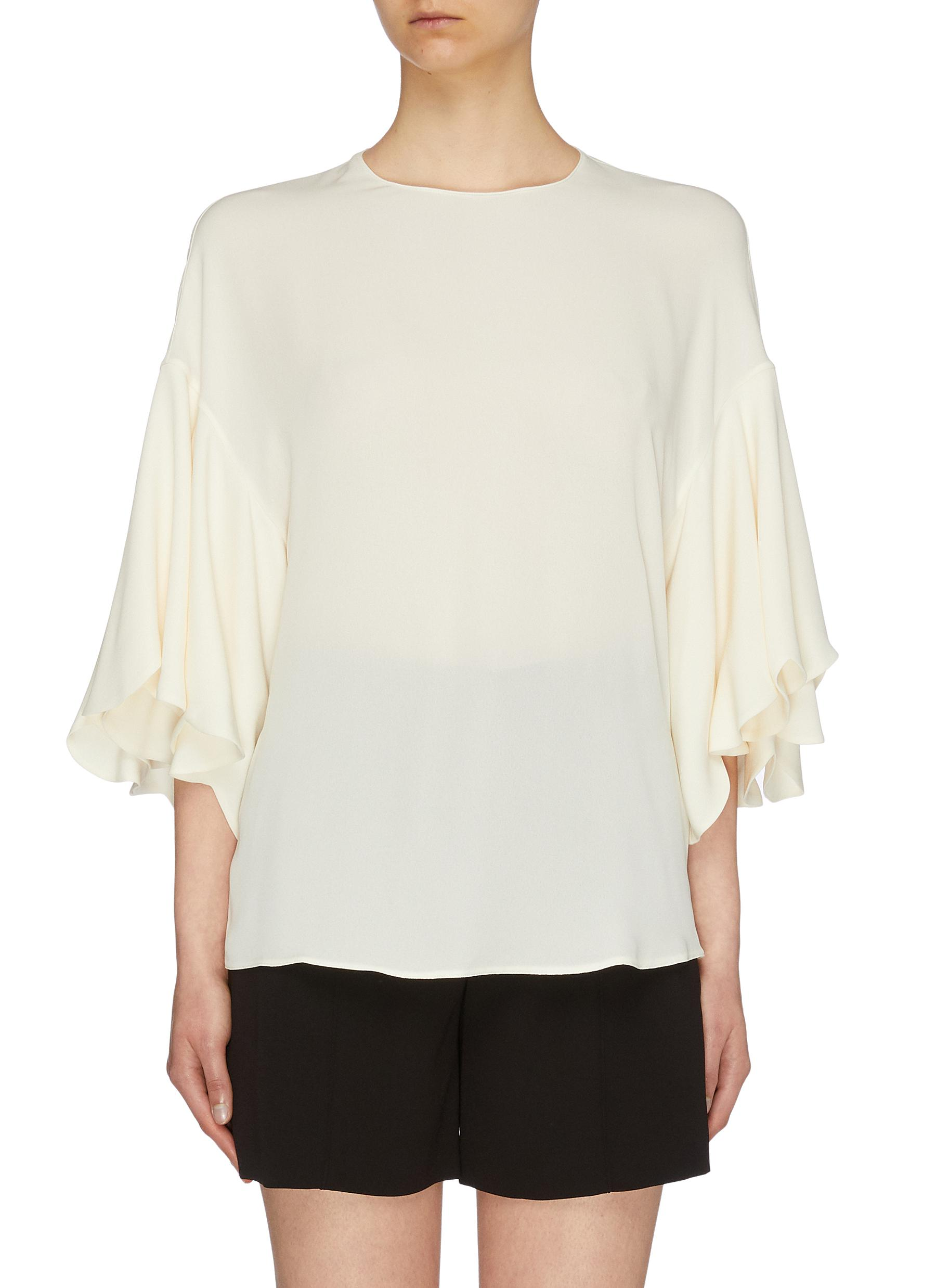Ruffle sleeve silk top by Valentino