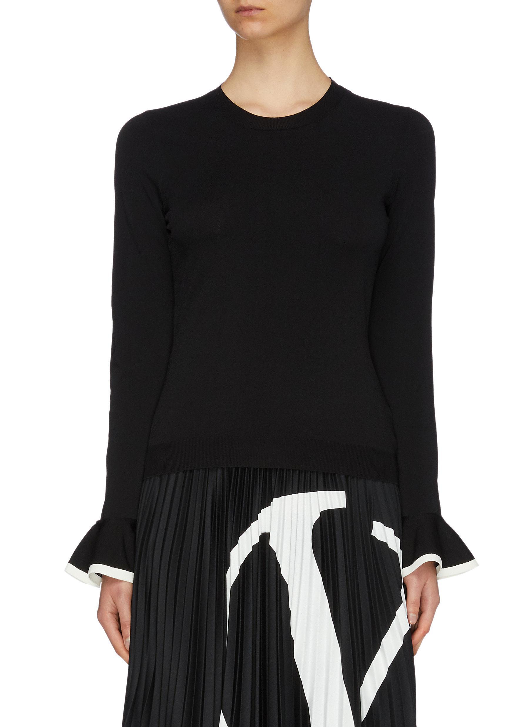 Contrast trim ruffle cuff sweater by Valentino