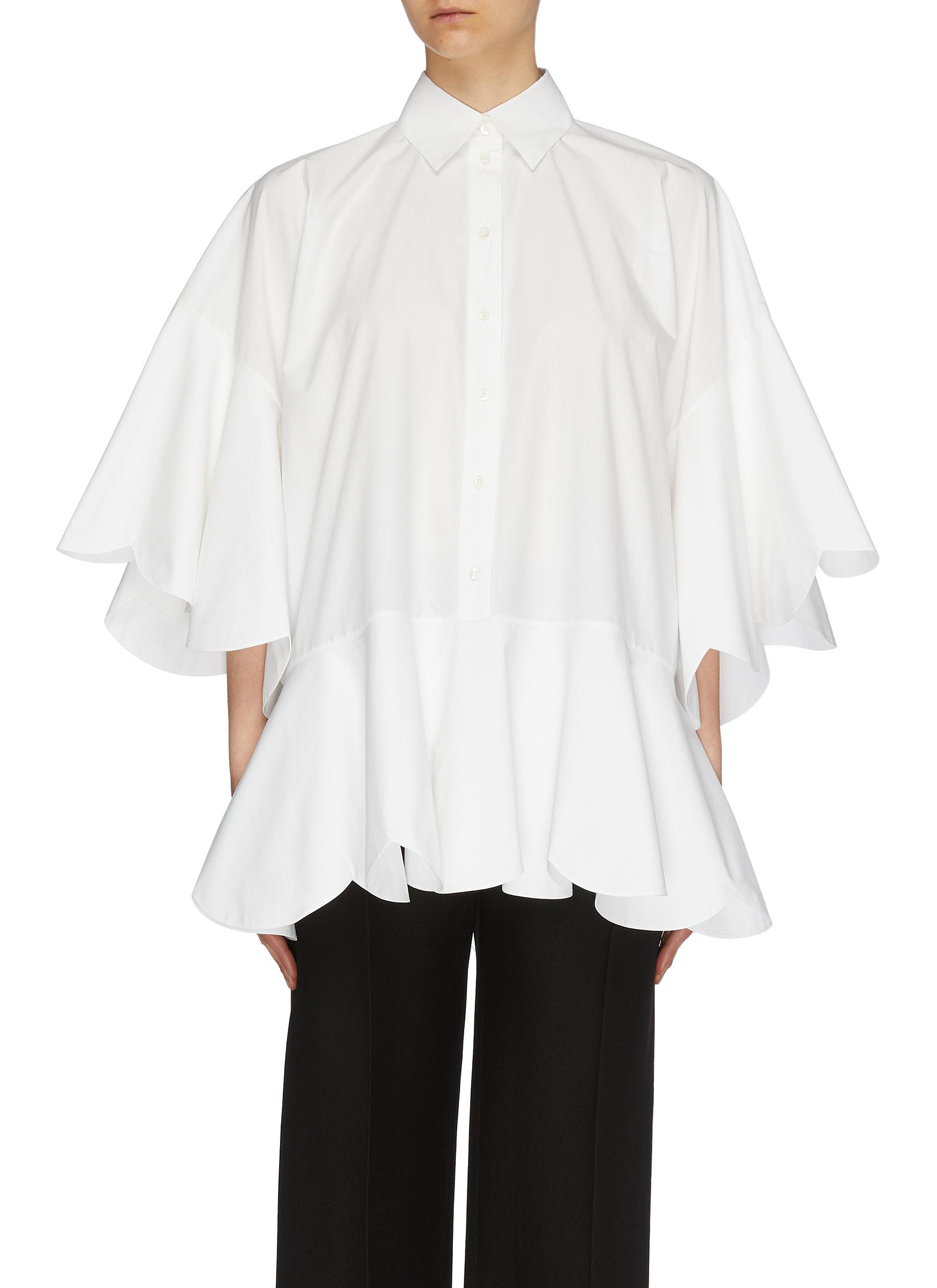 Scalloped ruffle sleeve peplum shirt by Valentino