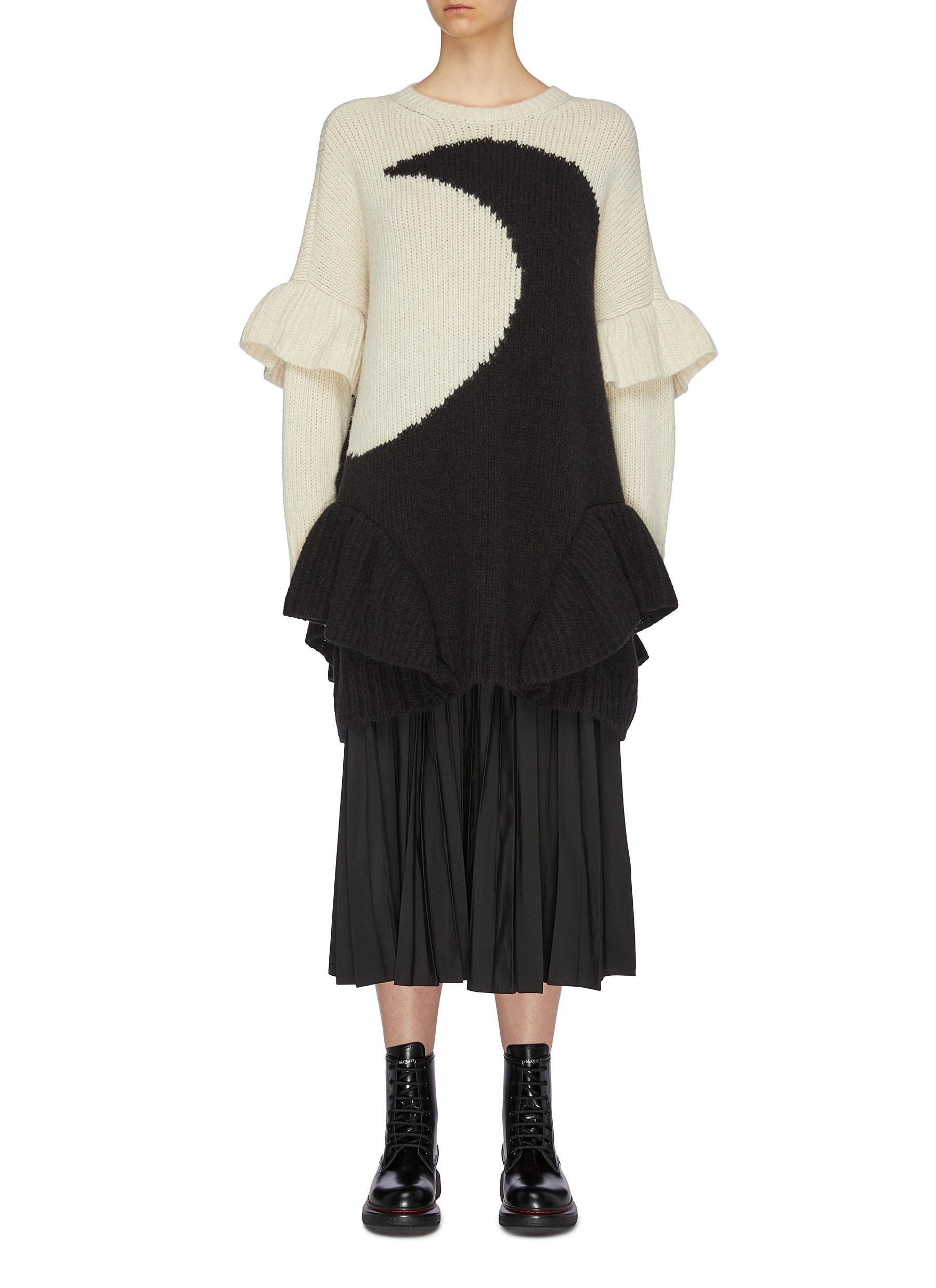 Luna colourblock intarsia ruffle peplum sweater by Valentino