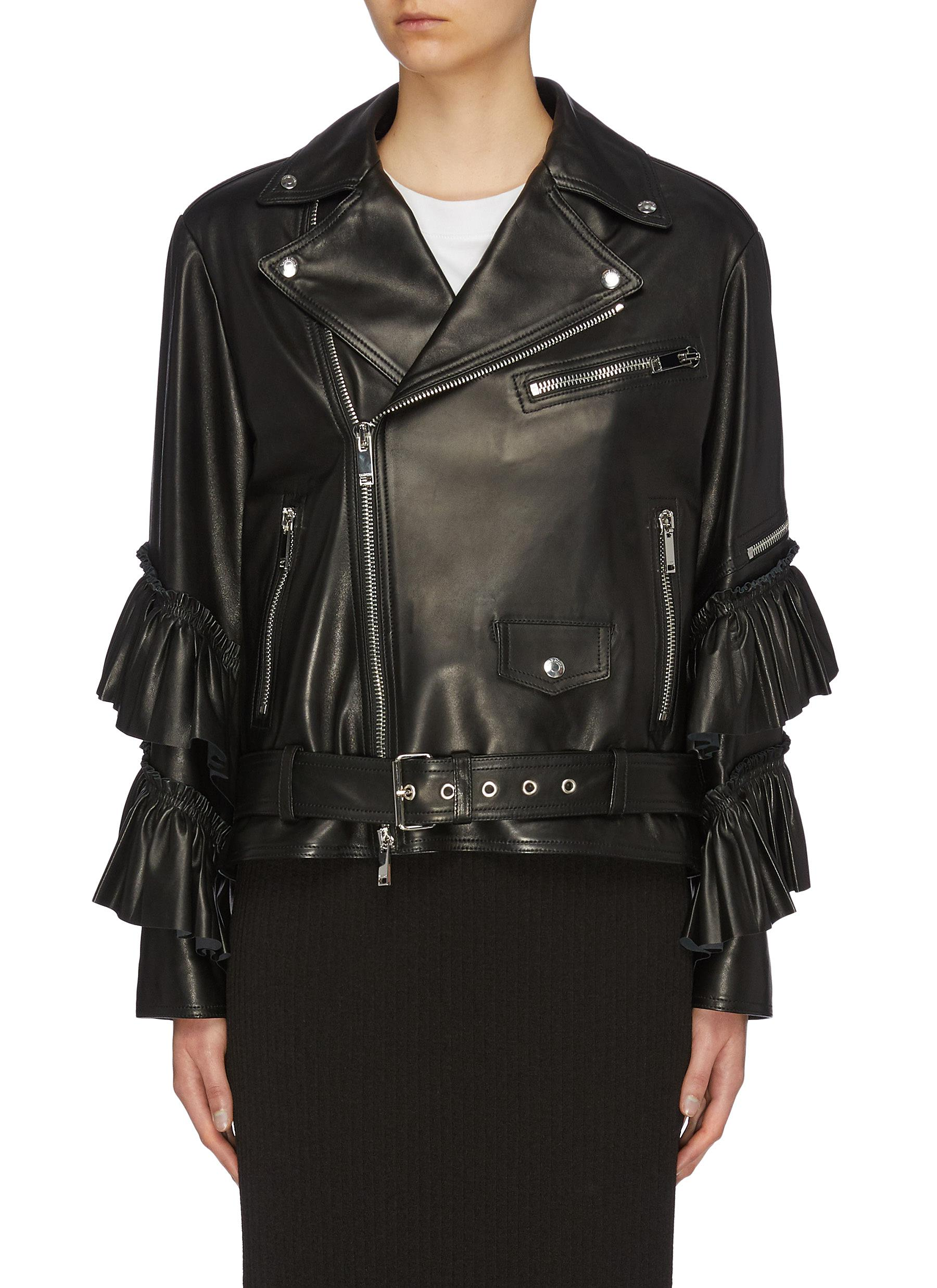 Tiered ruffle cuff belted leather biker jacket by Valentino