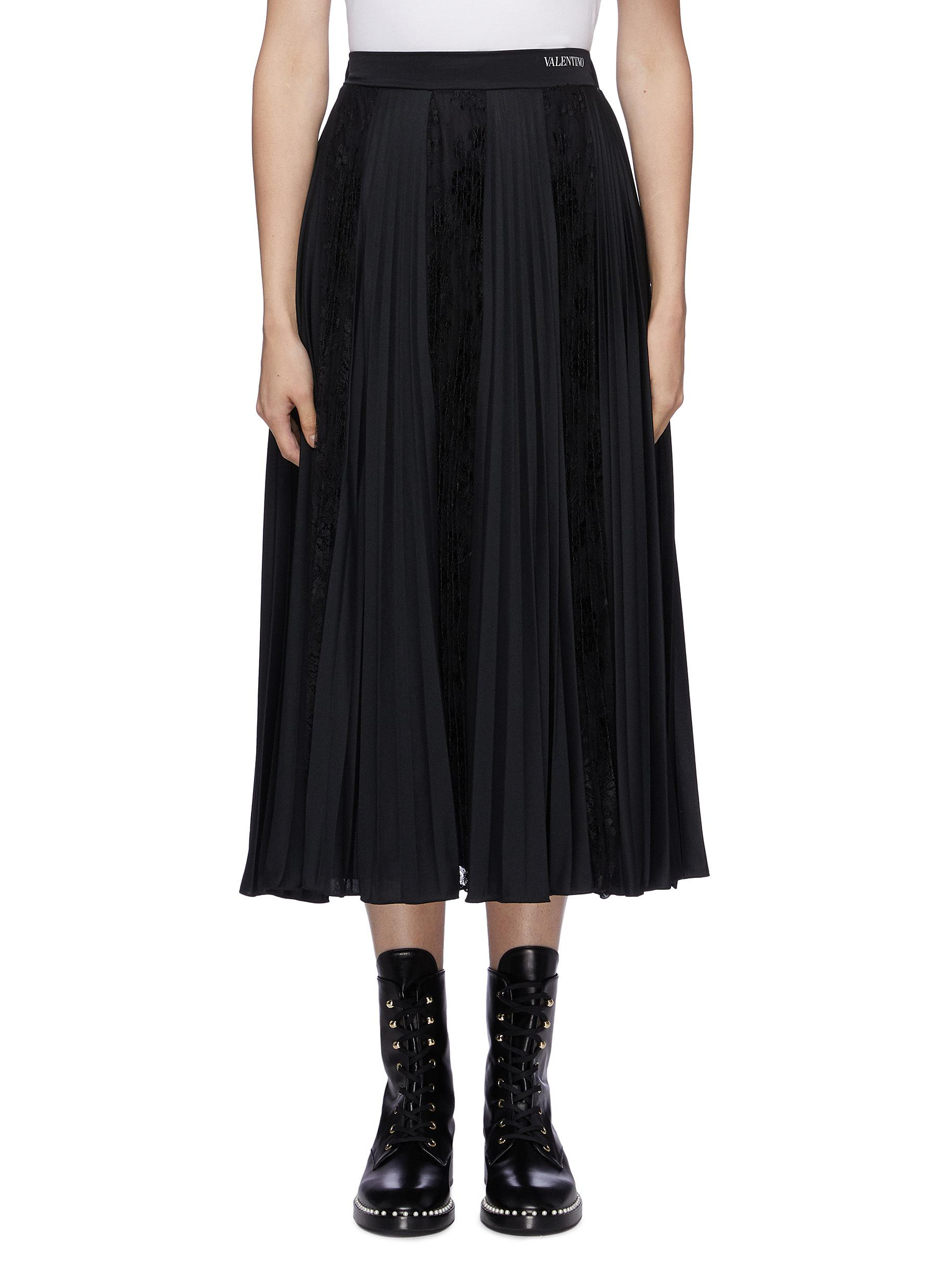 Plissé pleated panelled skirt by Valentino