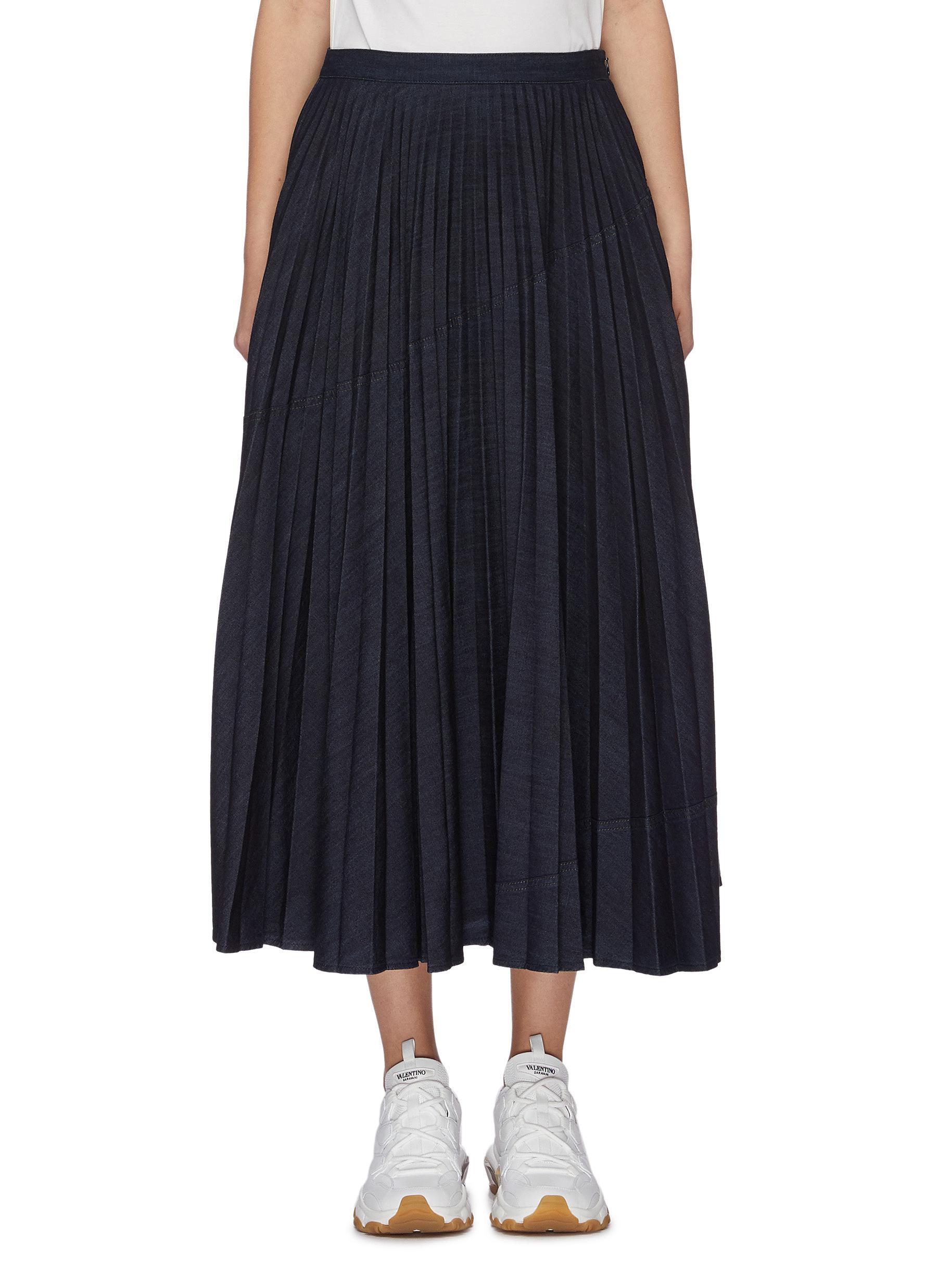 Plissé pleated denim skirt by Valentino