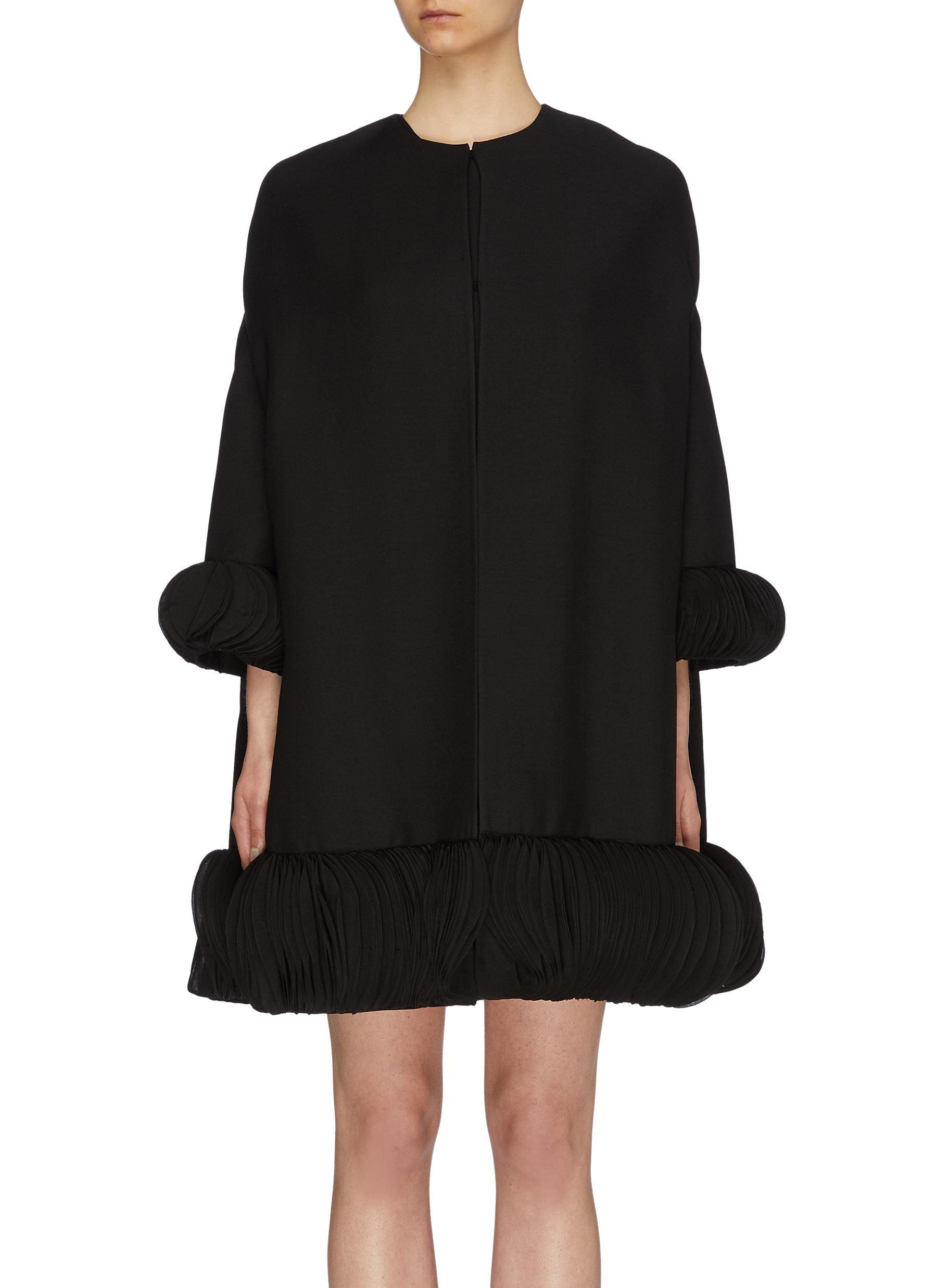Pagine embroidered hem virgin wool-silk crepe cape coat by Valentino