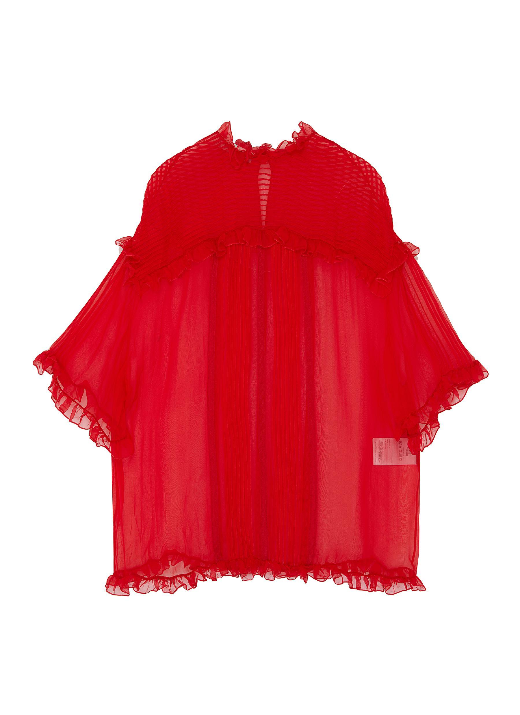 Ruffle trim pleated silk top by Valentino