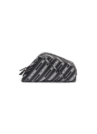 Main View - Click To Enlarge - BALENCIAGA - 'Car' logo stripe print leather crossbody pouch