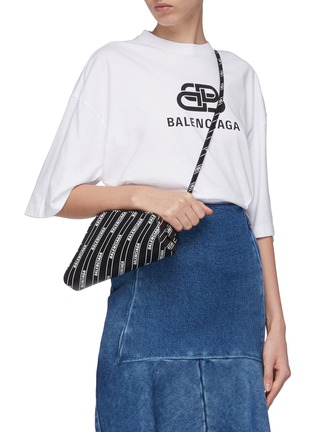 Figure View - Click To Enlarge - BALENCIAGA - 'Car' logo stripe print leather crossbody pouch
