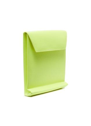 Detail View - Click To Enlarge - BALENCIAGA - 'Shopping' logo print neon leather envelope clutch
