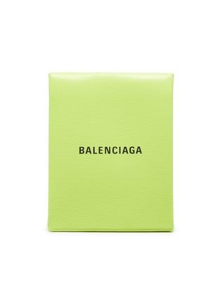 Main View - Click To Enlarge - BALENCIAGA - 'Shopping' logo print neon leather envelope clutch