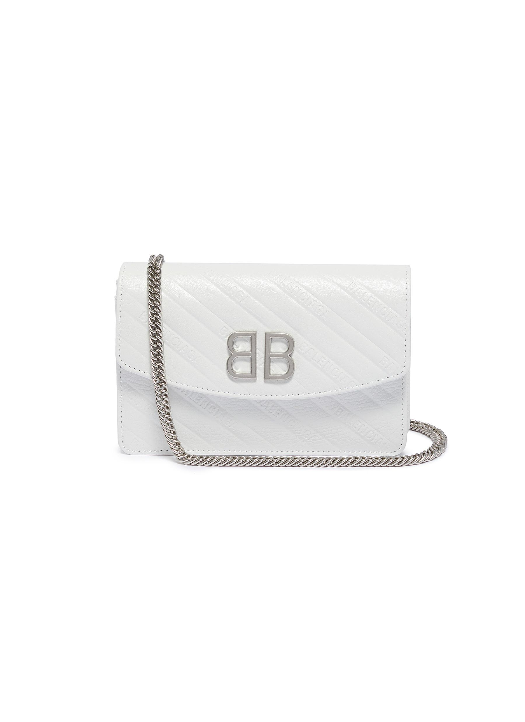 8d9963b6fda1a BALENCIAGA | 'BB' logo embossed leather chain wallet | Women | Lane ...