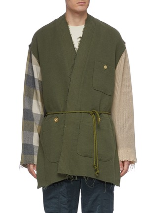 Main View - Click To Enlarge - SONG FOR THE MUTE - Belted contrast sleeve canvas kimono jacket