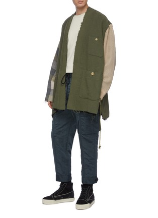 Figure View - Click To Enlarge - SONG FOR THE MUTE - Belted contrast sleeve canvas kimono jacket