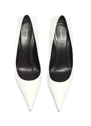 Detail View - Click To Enlarge - BALENCIAGA - 'Square Knife' leather pumps