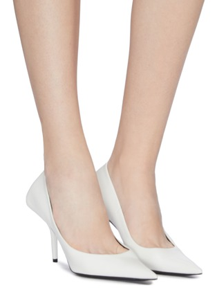 Figure View - Click To Enlarge - BALENCIAGA - 'Square Knife' leather pumps