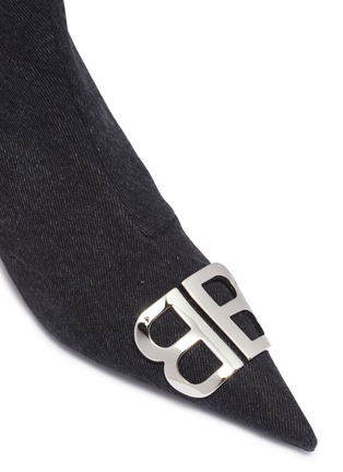 Detail View - Click To Enlarge - BALENCIAGA - 'Knife' logo plaque denim ankle boots