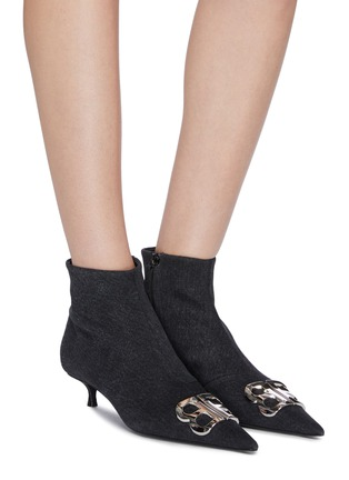 Figure View - Click To Enlarge - BALENCIAGA - 'Knife' logo plaque denim ankle boots
